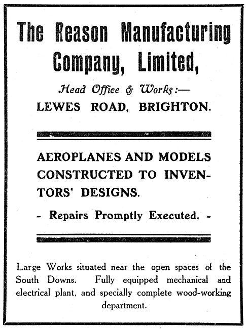 The Reason Manufacturing Company. Aeronautical Engineers