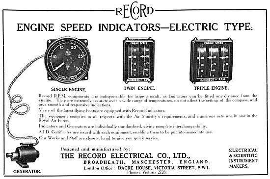 The Record Electrical Company. Electric Engine Speed Indicators