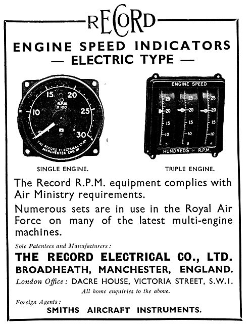 Record Electrical. Electric Engine Speed Indicators 1931