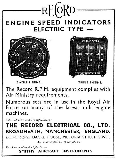 The Record Electrical Company.  RPM Indicators Electric Type