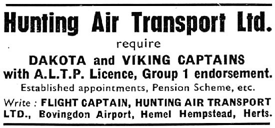 Hunting Air Transport Pilot Recruitment (1953)
