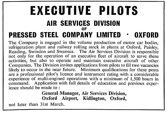 Executive Pilot Recruitment - Pressed Steel Company