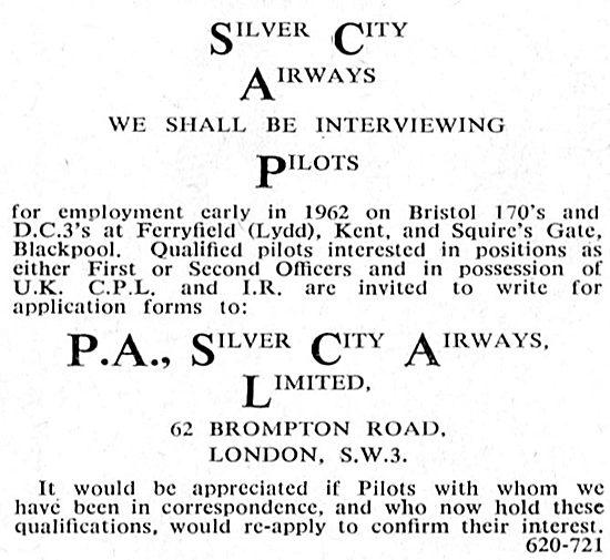 Pilot Recruitment Silver City Airways: DC3 - Bristol 170