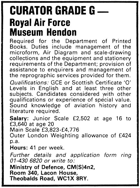 Recruitment: Curator Grade G. RAF Museum Hendon 1981 Advert