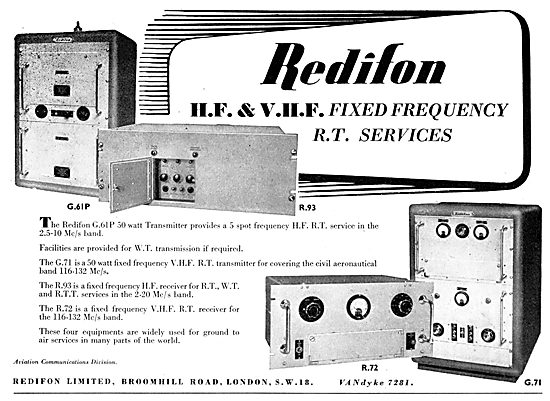 Redifon HF & VHF Fixed Frequency R.T. Services : R93 R72 G71