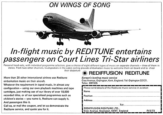 Rediffusion Reditune Cabin Entertainment Systems 1972