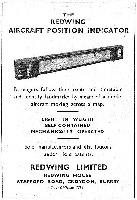 Redwing Aircraft Position Indicator For Passengers 1947