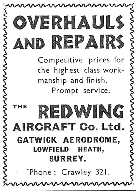 Redwing Aircraft Co Gatwick For Overhauls & Repairs