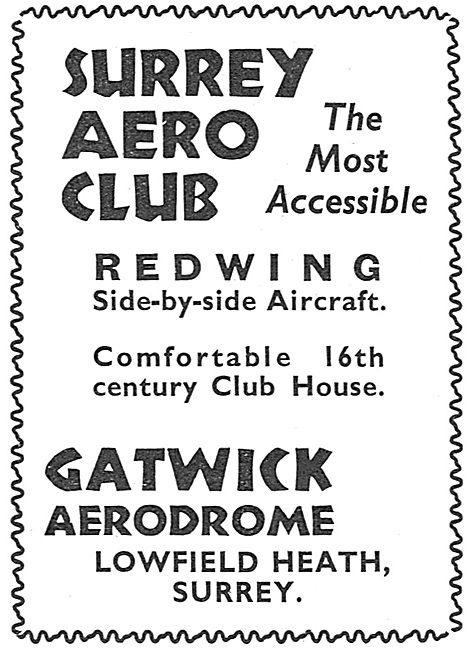 Surrey Aero Club, Gatwick Aerodrome. Redwing Aircraft