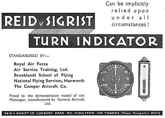 Reid & Sigrist Turn Indicator - Standard Equipment For The RAF