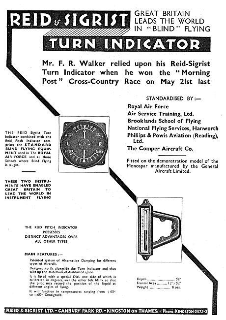 Mr F.R.Walker Relied On A Reid & Sigrist Turn Indicator