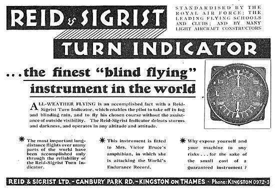 Reid & Sigrist Turn Indicator - Blind Flying Aid