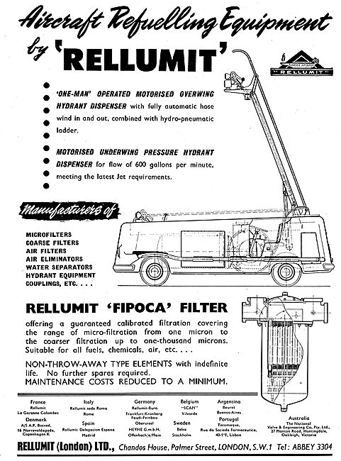 Rellumit Aircraft Re-Fuelling Equipment - Hydrant. Overwing