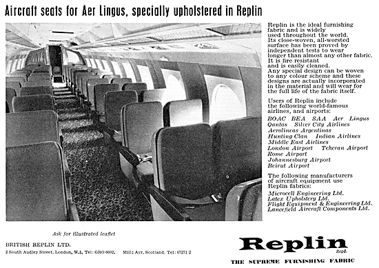 British Replin Aircraft Cabin Furnishing Fabrics 1960