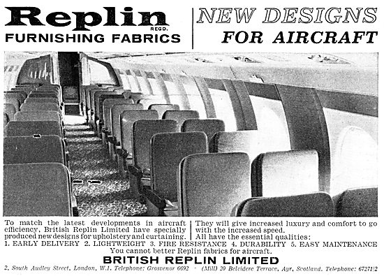 British Replin Aircraft Cabin Furnishing Fabrics