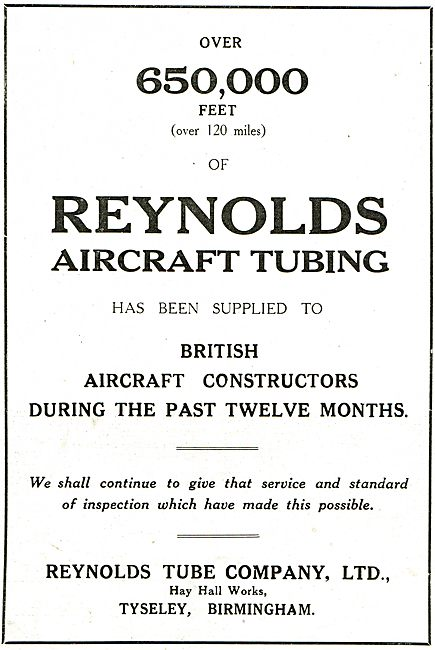 Over 650,000 Feet Of Reynolds Aircraft Tubing Has Been Supplied