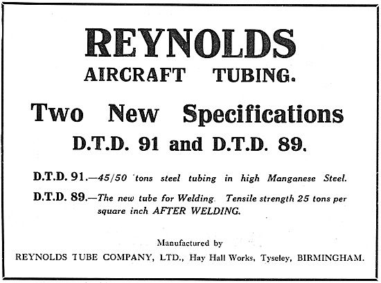 Reynolds Aircraft Tubing To DTD 91 & DTD 89