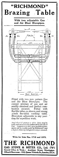 Richmond Gas Stove & Meter Co - Richmond Brazing Table