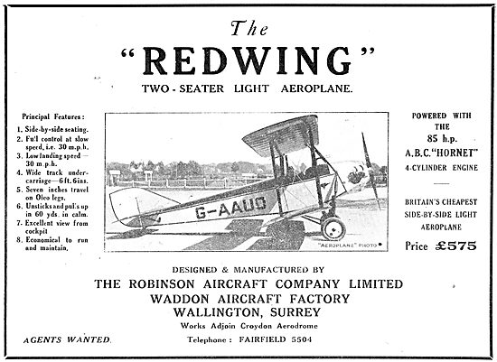 The Robinson Redwing - 85 HP ABC Hornet Engine. G-AAUO