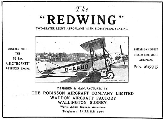 Robinson Redwing - Manufactured At The Waddon Aircraft Factory