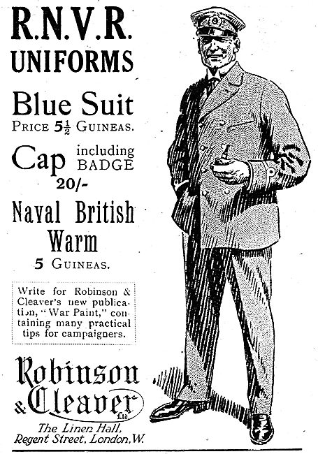 Robinson & Cleaver. Regent St  RNVR Uniforms & Suits