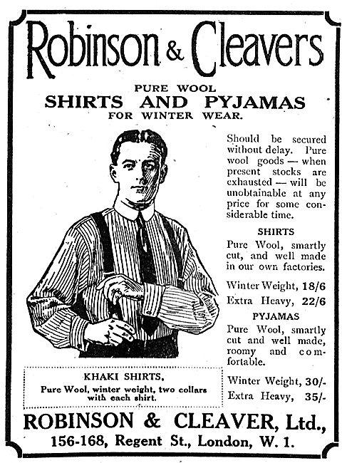 Robinson & Cleaver Pure Wool Shirts & Pyjamas