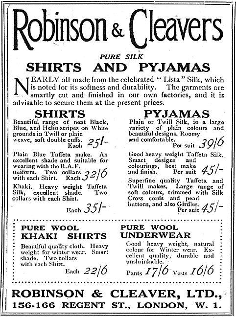 Robinson & Cleaver. Regent Street: Pure Wool Khaki Shirts 25/-