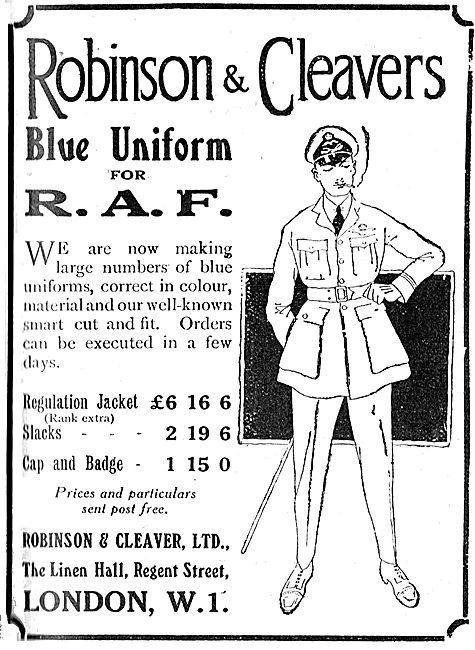 Robinson & Cleaver New Regulation RAF Blue Unforms