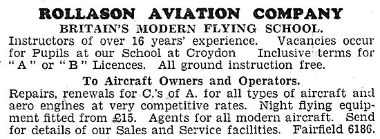 Rollason Aviation Company. Rollason Flying School. Croydon 1931
