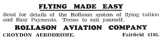 Rollason Aviation Company, Croydon. Flying Made Easy