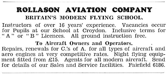 Rollason Aviation Company - A & B Licences.