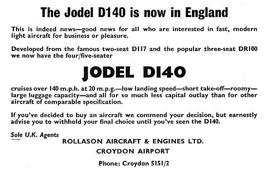 Rollason Aircraft & Engines Croydon  Jodel D140