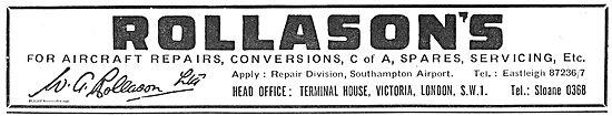 W.G Rollason Repair Division. Aircraft Repairs & Conversions.
