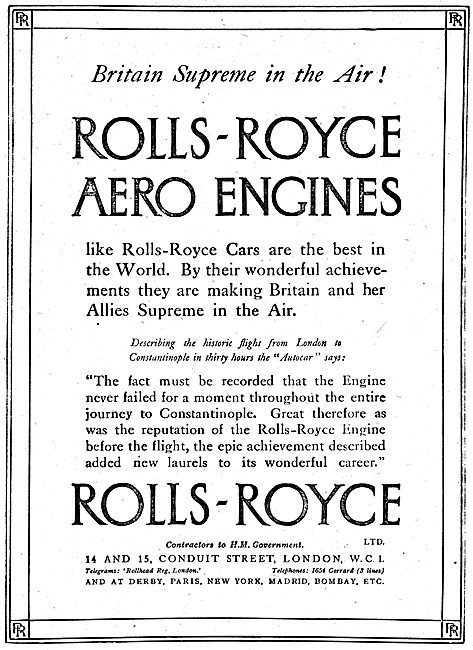 Rolls-Royce Aero Engines. Supreme In The Air