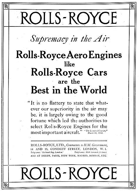 Rolls-Royce Aero Engines 1918 Advert