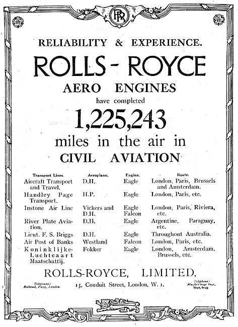 Rolls-Royce Aero Engines. 1,225,243 Milesa In The Air.