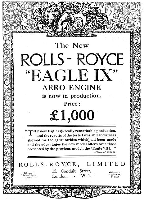 Rolls-Royce Eagle IX Aero Engine