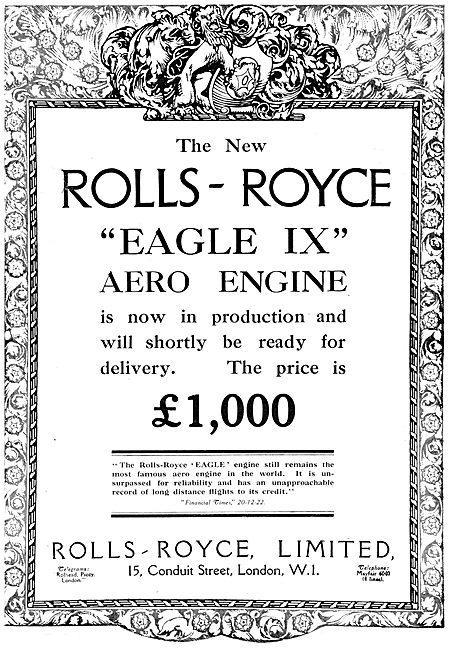 Rolls-Royce Eagle IX Aero Engine