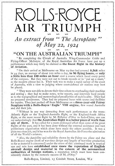 Rolls-Royce Eagle VIII Aero Engine 1924