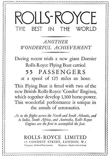 Rolls-Royce Powers  Giant Dornier Flying Boat.