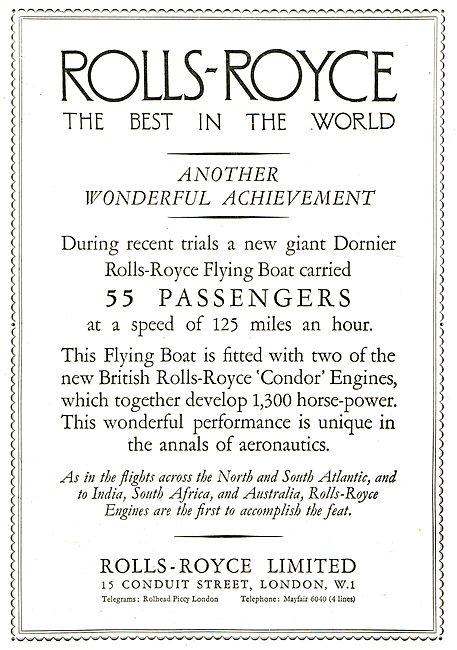 Rolls-Royce Condor Dornier Flying Boat