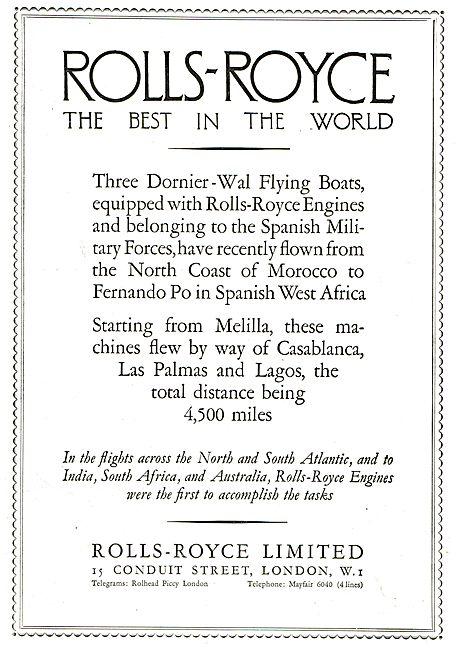 Rolls-Royce -  Dornier-Wal Flying Boats