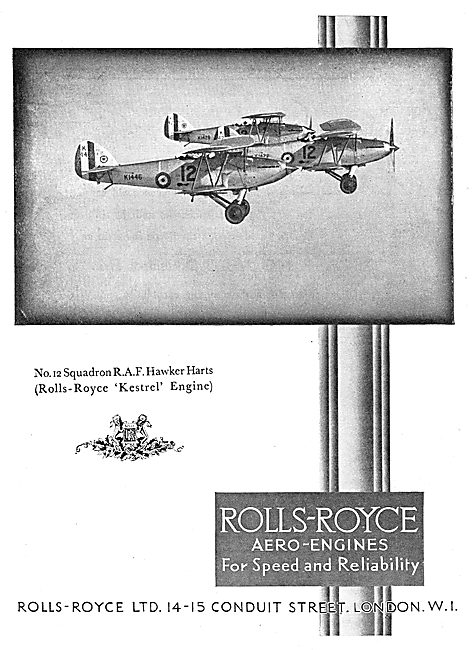 Rolls-Royce Kestrel Aero Engines Fitted To The RAF Hawker Harts