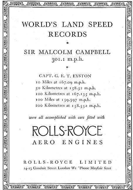 Rolls Royce Aero Engine - Land Speed Record Sir  Malcolm Campbell