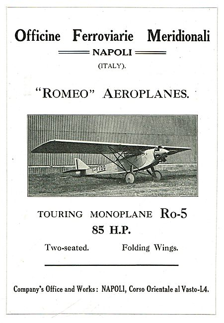 Romeo Aeroplanes - Touring Model Ro-5  85HP