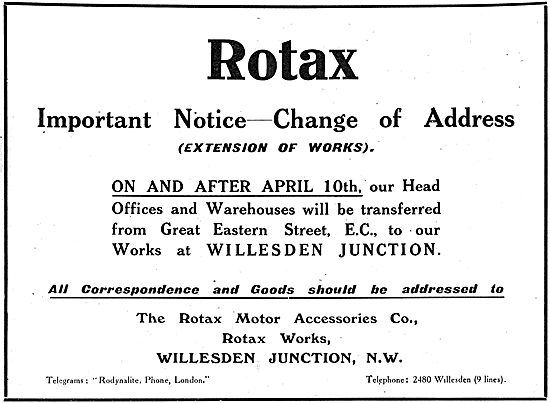 Rotax - Change Of Address & Extension Of Works 1916