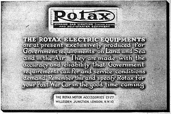 Rotax Electrical Components. 1919 Advert