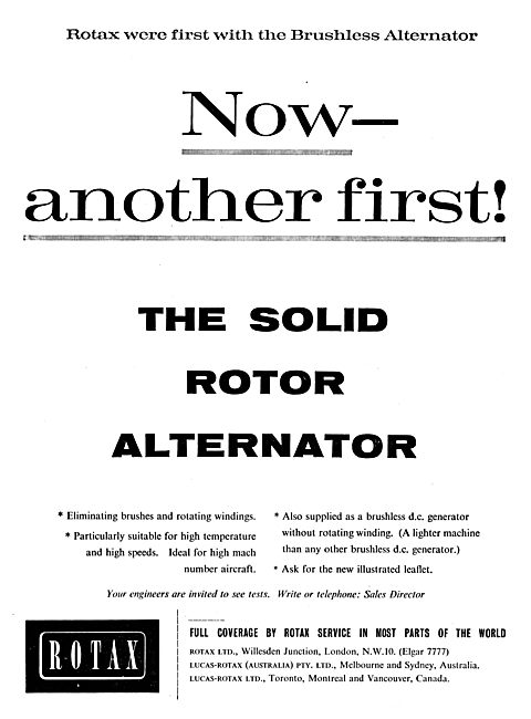 Rotax Brush Free Solid Rotor Alternator