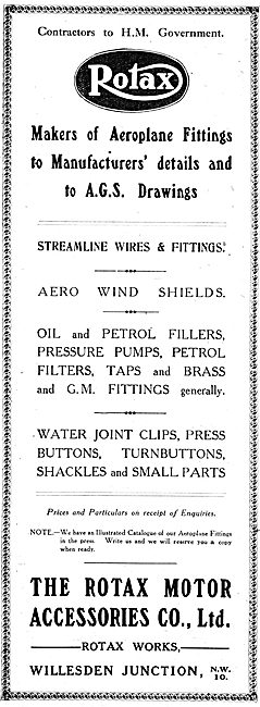 Rotax Aeroplane Parts & Fittings 1917 - AGS Parts