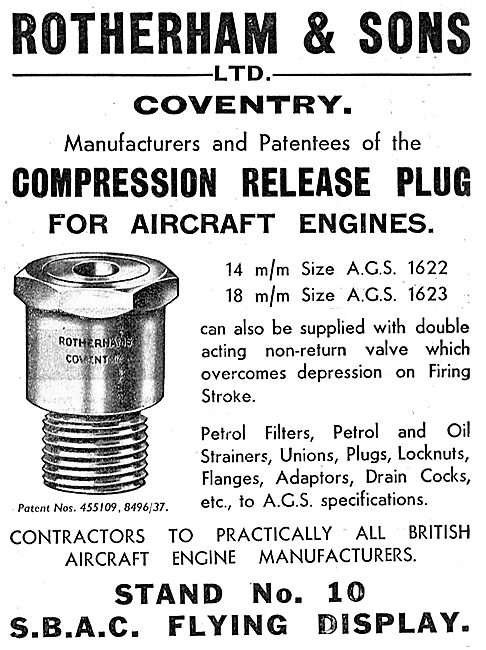 Rotherams Compression Release Plug For Aircraft Engines 1937